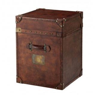 Casa Padrino Luxus Koffer Schrank Truhe Vintage Leder Braun - Art Deco Barock Jugendstil Kofferschrank Nachtschrank - Vorschau 2