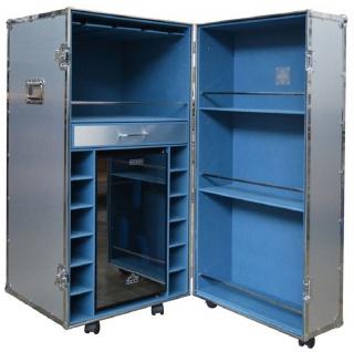 Casa Padrino Luxus Aluminium Weinschrank Silber / Blau 62 x 74 x H. 130 cm - Cocktailschrank - Kofferschrank - Barschrank im Koffer Design - Luxus Qualität