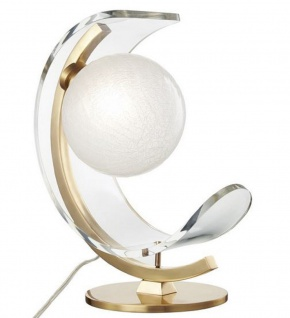 Casa Padrino Designer LED Tischleuchte Antik Messingfarben / Weiß 33 x 19, 1 x H. 38, 1 cm - Luxus Kollektion
