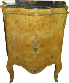 Casa Padrino Barock Kommoden Schrank mit grüner Marmorplatte Vogelaugenahorn - Möbel Kommode