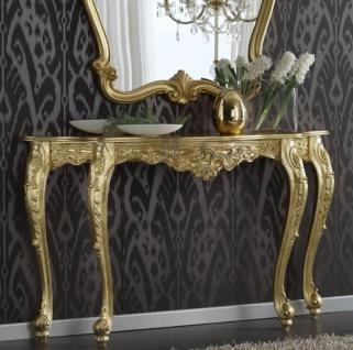 Casa Padrino Luxus Barock Konsole Gold 150 x 41 x H. 90 cm - Prunkvoller Antik Stil Konsolentisch mit wunderschönen Verzierungen - Luxus Qualität - Made in Italy - Vorschau 2