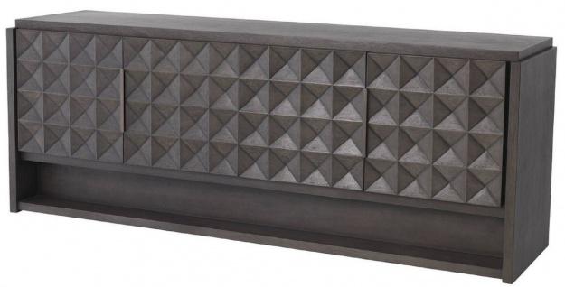 Casa Padrino Luxus Sideboard Mokkafarben / Bronze 219 x 56 x H. 83 cm - Massivholz Schrank mit 4 Türen und 3D Effekt in den Fronten - Luxus Möbel