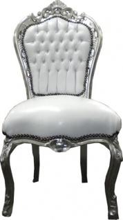 Casa Padrino Barock Esszimmer Stuhl Weiß / Silber - Möbel