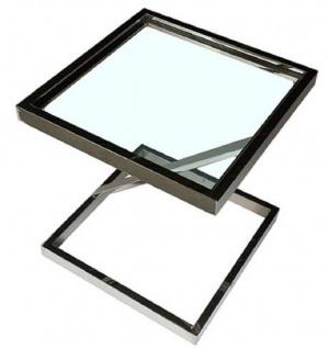 Casa Padrino Luxus Beistelltisch Silber 45 x 45 x H. 50 cm - Edelstahl Tisch mit Glasplatte - Wohnzimmermöbel