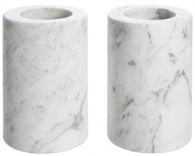 Casa Padrino Luxus Marmor Teelichthalter Set Weiß Ø 10 x H. 15 cm - Luxus Qualität - Vorschau 2