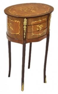 Casa Padrino Barock Kommode Mahagoni Intarsien / Gold mit 3 Schubladen Oval - Nachtschrank Antik Stil - Vorschau 2