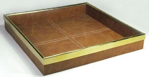 Casa Padrino Luxus Tablett Braun / Gold 42 x 42 x H. 6, 5 cm - Quadratisches Serviertablett mit Leder - Gastronomie Accessoires