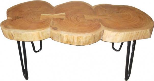 Casa Padrino Beistelltisch Akazien Holz / Eisen 80 - 120 cm - Industrial Möbel Hocker Tisch