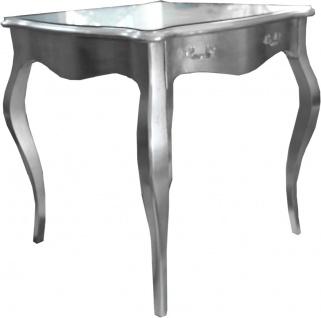 Casa Padrino Barock Esstisch Silber mit Schublade 80 x 80 cm - Esszimmer Tisch Möbel
