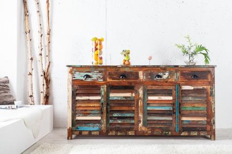Casa Padrino Designer Sideboard Mehrfarbig B.180 x H.100 x T.45 - Fernsehschrank - Kommode - Handgefertigt - Massivholz - Vorschau 4