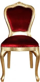 Casa Padrino Luxus Barock Esszimmer Set Bordeauxrot / Gold - 6 handgefertigte Esszimmerstühle - 2 Stühle mit Armlehnen und 4 Stühle ohne Armlehnen - Barock Esszimmermöbel - Vorschau 3
