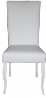 Casa Padrino Esszimmer Stuhl Weiß / Weiß Kunstleder - Barock Möbel