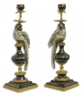 Casa Padrino Jugendstil Kerzenhalter Set Papagei Schwarz / Gold 16, 1 x 12, 8 x H. 48 cm - Elegante Porzellan Kerzenständer - Barock & Jugendstil Deko Accessoires