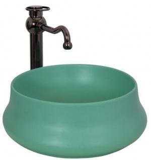 Casa Padrino Jugendstil Waschtisch Set Ø 40 x H. 32 cm - Retro Einhebel Wasserhahn und elegantem runden Waschbecken - Rustikales Bad Zubehör