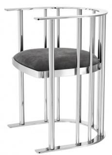 Casa Padrino Designer Stuhl mit Armlehnen Silber / Dunkelgrau 54, 5 x 53 x H. 68 cm - Designermöbel - Vorschau 2