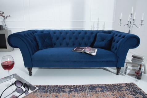 Casa Padrino Chesterfield Sofa in Blau 225 x 90 x H. 79 cm - Designer Chesterfield Sofa - Vorschau 3