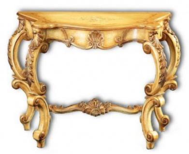 Casa Padrino Luxus Barock Konsole Naturfarben / Braun 103 x 47 x H. 78 cm - Handgefertigter Konsolentisch mit wunderschönen Verzierungen - Barock Möbel - Edel & Prunkvoll