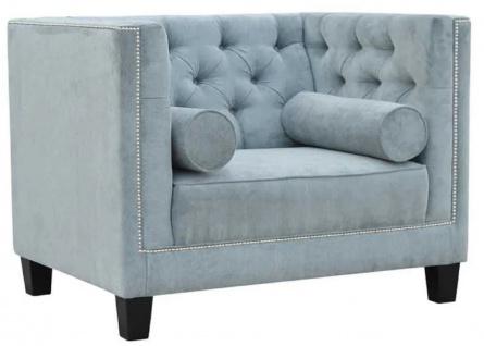 Casa Padrino Chesterfield Sessel Hellblau / Schwarz 100 x 84 x H. 83 cm - Moderner Wohnzimmer Sessel - Chesterfield Wohnzimmer Möbel