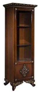 Casa Padrino Luxus Barock Vitrine Braun / Gold - Handgefertigter Massivholz Vitrinenschrank - Barock Wohnzimmer Möbel