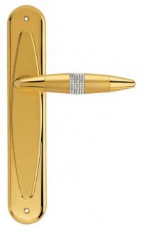 Casa Padrino Luxus Türklinken Set Gold 16 x H. 27, 5 cm - Türgriffe besetzt mit Swarovski Kristallen
