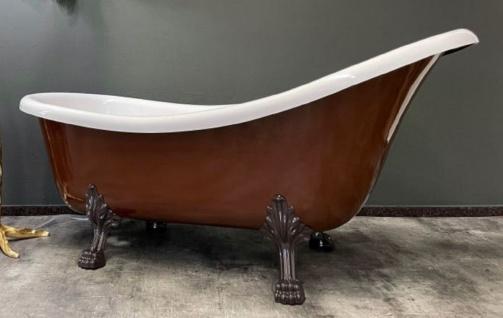 Casa Padrino Luxus Jugendstil Badewanne Mahagonibraun / Weiß 174 x 83 x H. 81 cm - Freistehende Retro Badewanne mit Löwenfüßen - Retro Badezimmer Möbel