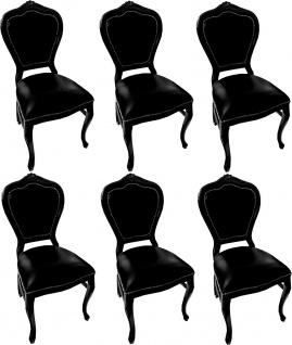 Casa Padrino Luxus Barock Esszimmer Set Schwarz / Schwarz 45 x 47 x H. 99 cm - 6 handgefertigte Massivholz Esszimmerstühle mit Echtleder - Barock Esszimmermöbel