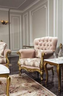 Casa Padrino Luxus Barock Sessel Rosa / Gold 93 x 75 x H. 108 cm - Wohnzimmer Sessel mit elegantem Muster und dekorativem Kissen - Barock Möbel