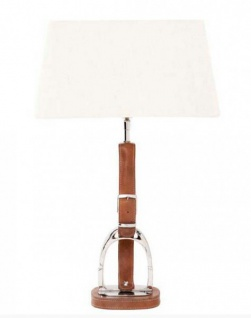 Casa Padrino Luxus Tischleuchte Horsebit Belt Tan vernickelt mit Echtleder Gürtel - Leuchte Lampe - Tischleuchte Tischlampe Hockerleuchte