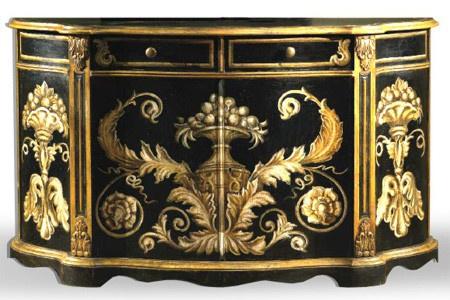 Casa Padrino Barock Sideboard Schwarz / Gold handbemalt 174 cm - Hotel Collection