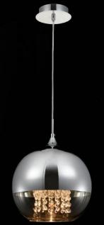 Casa Padrino Hängeleuchte Silber Ø 30 x H. 28 cm - Hängelampe mit rundem Lampenschirm und feinsten Kristall Behängen - Vorschau 3