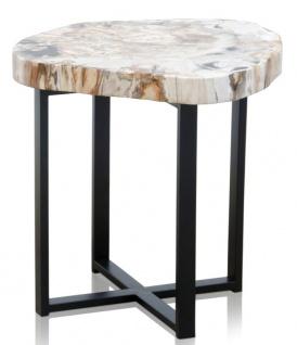 Casa Padrino Luxus Couchtisch mit einer versteinerten Holz Tischplatte in hellen naturfarben / schwarz - Wohnzimmertisch