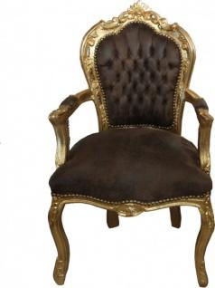 Casa Padrino Barock Esszimmer Stuhl mit Armlehnen Braun / Gold Lederoptik
