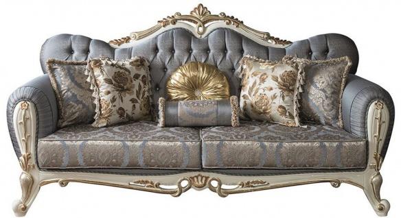 Casa Padrino Luxus Barock Wohnzimmer Sofa mit Glitzersteinen und dekorativen Kissen Blau / Weiß / Gold 220 x 85 x H. 110 cm - Edle Wohnzimmer Möbel im Barockstil