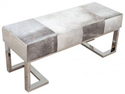 Casa Padrino Luxus Echtleder Sitzbank Grau 110 cm x T. 40 cm H. 45 cm - Echtfell - Unikat