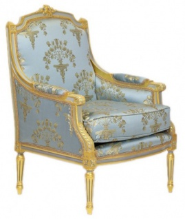 Casa Padrino Barock Lounge Thron Sessel Empire Blau-Grau Gold Muster / Gold - Ohren Sessel - Ohrensessel Tron Stuhl