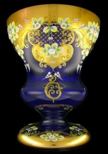 Casa Padrino Luxus Barock Glas Vase Blau / Mehrfarbig / Gold H. 40 cm - Handgefertigte & handbemalte Blumenvase - Barock Deko - Edel & Prunkvoll