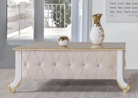 Casa Padrino Barock Couchtisch Beige / Weiß / Gold 100 x 64 x H. 43 cm - Edler Barockstil Wohnzimmertisch mit Glitzersteinen - Barock Möbel