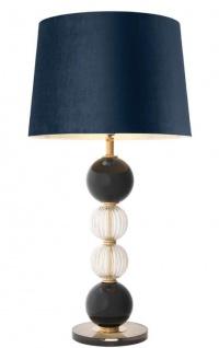 Casa Padrino Luxus Tischleuchte Antik Messing / Schwarz / Blau Ø 50 x H. 96 cm - Runde Wohnzimmerlampe mit Samt Lampenschirm