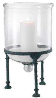 Casa Padrino Luxus Kerzenleuchter Schwarz Verwittert Ø 28, 5 x H. 50 cm - Luxus Accessoires