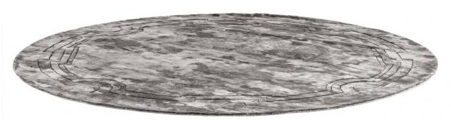 Casa Padrino Luxus Viskose Teppich Grau Ø 280 cm - Handgewebter runder Wohnzimmer Teppich - Luxus Qualität - Vorschau 5