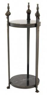 Casa Padrino Luxus Barock Beistelltisch Rund Massiv Gunmetal Bronze mit Marmorplatte 71 x 25 cm - Tisch