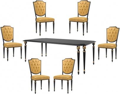 Casa Padrino Luxus Barock Esszimmer Set Gold / Schwarz / Antik Gold - 1 Esszimmertisch & 6 Esszimmerstühle mit hochwertigem Leder - Barock Esszimmermöbel - Luxus Qualität - Edel & Prunkvoll