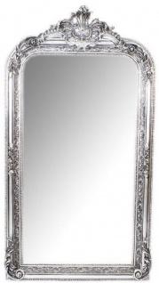 Casa Padrino Barock Wandspiegel Silber 70 x H. 140 cm - Prunkvoller Barock Spiegel mit Holzrahmen und wunderschönen Verzierungen