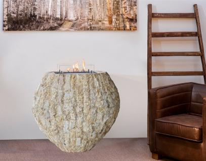 Casa Padrino Luxus Ethanol Kamin mit einem keramischen Bioethanolbrenner Naturfarben / Weiß 90 x 40 x H. 85 cm - Freistehender Naturstein Kamin im Design einer Vase - Vorschau 3
