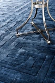 Casa Padrino Luxus Viskose Teppich Saphirblau - Verschiedene Größen - Handgewebter Wohnzimmerteppich
