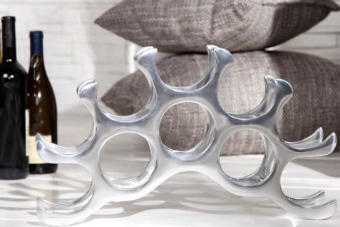 Designer Weinregal für 10 Flaschen aus poliertem Aluminium Höhe: 28 cm, Breite: 48 cm, Tiefe: 11cm - Flaschenhalter, Flaschenablage - Vorschau 3