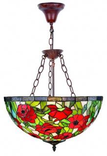 Casa Padrino Tiffany Hängeleuchte Mehrfarbig Ø 40 x H. 110 cm - Handgefertigte Tiffany Hängelampe