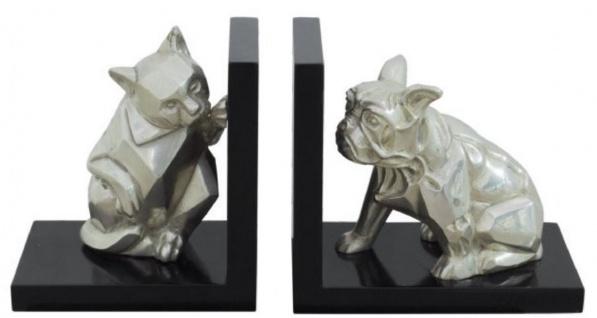 Casa Padrino Luxus Buchstützen Set Katze & Hund Silber / Schwarz 18 x 18 x H. 10 cm - Deko Bronzefiguren mit Holzsockel
