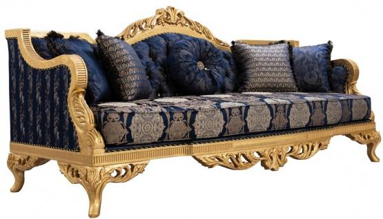 Casa Padrino Luxus Barock Sofa mit Glitzersteinen und dekorativen Kissen Dunkelblau / Gold 228 x 93 x H. 108 cm - Barock Wohnzimmer Möbel