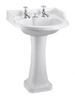 Casa Padrino Art Deco Waschbecken mit 2 Hahnlöchern - Porzellan Waschbecken